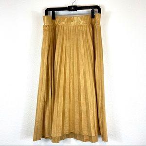 Torrid Insider Lurex Pleated Midi Gold Skirt 2